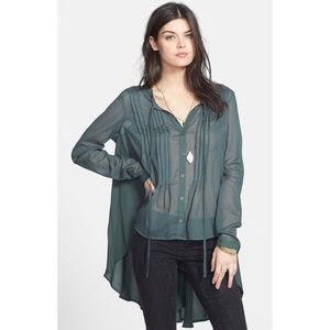 FREE PEOPLE GREEN HIGH LOW BUTTON UP TUNIC SHIRT M